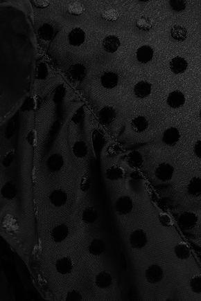 GANNI ラッフル付き フロック加工ガーゼ ミディラップドレス