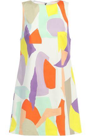 ALICE + OLIVIA فستان قصير من القطن المرن المطبع برسومات