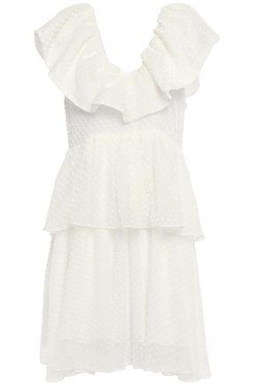 GANNI Tiered flocked tulle mini dress
