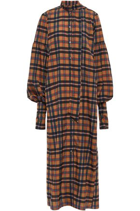 ROKH Oversized tie-neck checked crepe de chine maxi shirt dress