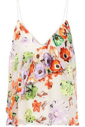 ALICE + OLIVIA Lavonia ruffled floral-print fil coupé chiffon camisole