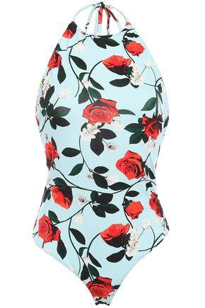 ALICE + OLIVIA Floral-print stretch-jersey halterneck bodysuit