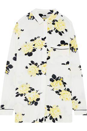 GANNI Silvery floral-print crepe shirt