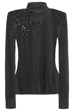 CHRISTOPHER KANE Embellished metallic knitted top