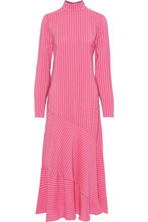GANNI Lynch pinstriped silk-blend seersucker maxi dress