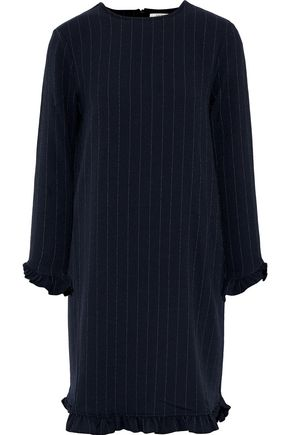 GANNI Clark ruffle-trimmed pinstriped crepe mini dress
