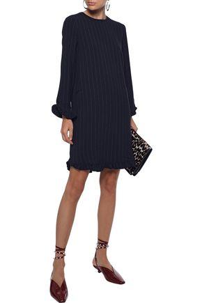 Ganni Clark Ruffle-trimmed Crepe Mini Dress In Midnight Blue