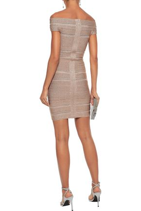 HERVÉ LÉGER Off-the-shoulder metallic bandage mini dress