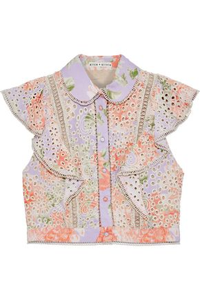 ALICE + OLIVIA Cavan ruffled floral-print broderie anglaise modal top