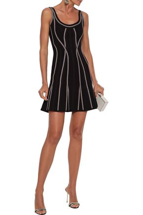 Herve Leger HervÉ LÉger Woman Miica Fluted Jacquard-knit Mini Dress Black