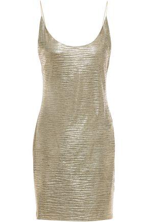 ALICE + OLIVIA فستان قصير منزلق من الجيرسي المرن المطلي بلون لامع