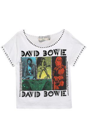 ALICE + OLIVIA Embellished printed cotton-jersey T-shirt
