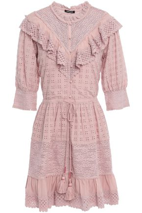 LOVE SAM Lace and mousseline-paneled broderie anglaise mini dress