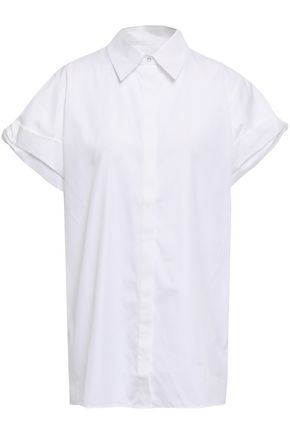 VICTORIA, VICTORIA BECKHAM Knotted cotton-poplin shirt