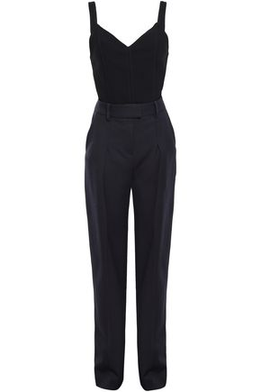 VICTORIA, VICTORIA BECKHAM Paneled crepe and twill jumpsuit