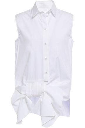 VICTORIA, VICTORIA BECKHAM Bow-detailed cotton-poplin shirt