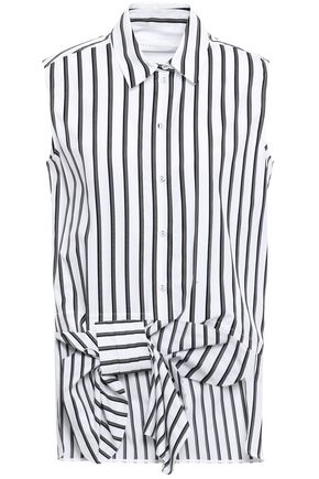 VICTORIA, VICTORIA BECKHAM Bow-embellished striped cotton shirt