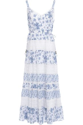 LOVE SAM Lace-paneled floral-print cotton-mousseline maxi dress