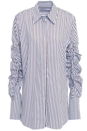 VICTORIA, VICTORIA BECKHAM Ruched striped cotton-poplin shirt