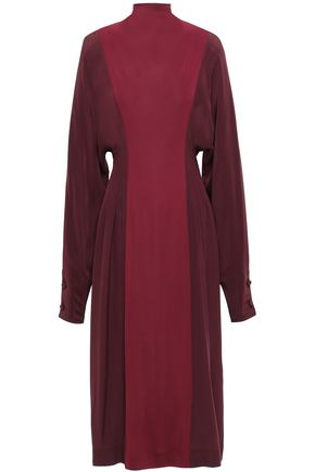 VICTORIA BECKHAM Two-tone silk crepe de chine midi dress