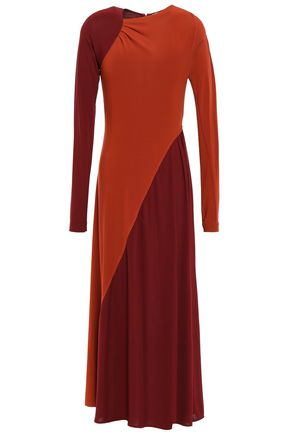 VICTORIA BECKHAM Gathered two-tone stretch crepe-jersey midi dress