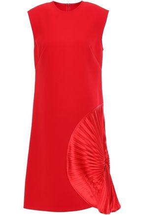 VICTORIA BECKHAM Pleated silk-satin paneled crepe dress