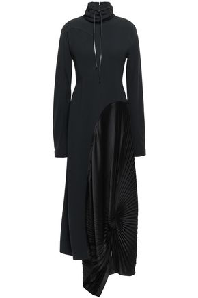 VICTORIA BECKHAM Asymmetric pleated crepe and satin maxi dress