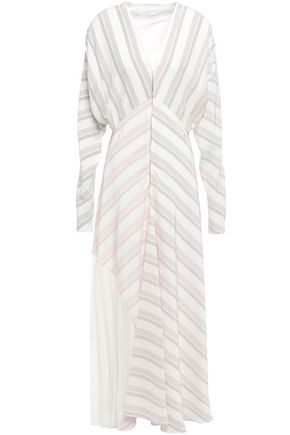 VICTORIA BECKHAM Crepe-paneled striped silk-cady maxi dress