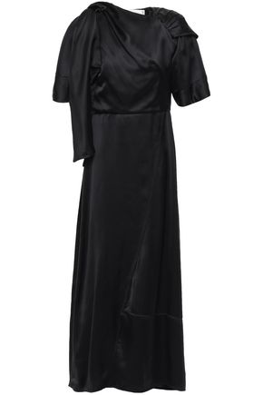 VICTORIA BECKHAM Asymmetric gathered draped satin maxi dress