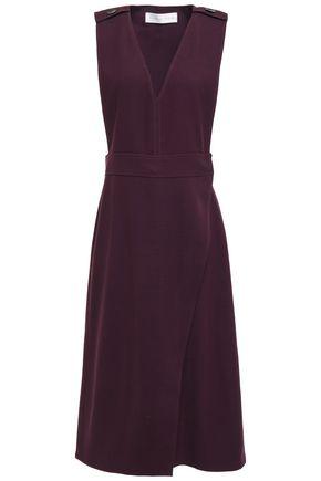 VICTORIA, VICTORIA BECKHAM Wool-blend piqué midi wrap dress