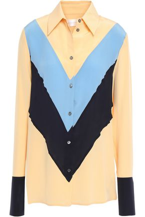 VICTORIA, VICTORIA BECKHAM Color-block silk crepe de chine shirt