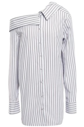 VICTORIA, VICTORIA BECKHAM Asymmetric striped cotton-poplin shirt