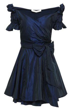 JONATHAN SIMKHAI オフショルダー パール光沢タフタ ミニラップドレス
