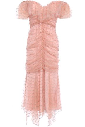 ALICE McCALL Venus off-the-shoulder ruched embroidered tulle midi dress