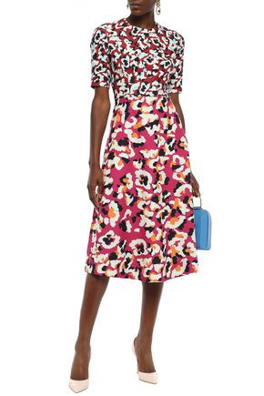 Mary Katrantzou Woman May Printed Stretch-Crepe Midi Dress Fuchsia