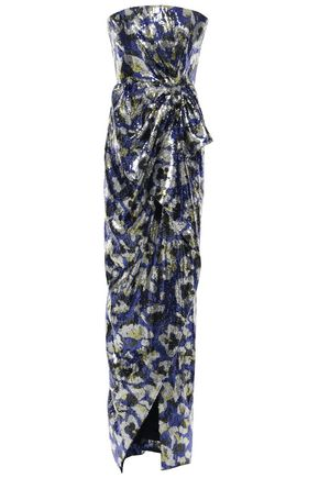 MARY KATRANTZOU Consort strapless printed sequined crepe gown