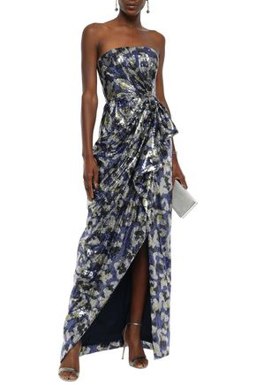 Mary Katrantzou Tops MARY KATRANTZOU WOMAN CONSORT STRAPLESS PRINTED SEQUINED CREPE GOWN ROYAL BLUE