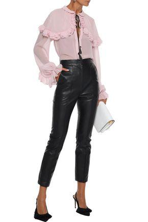 GIAMBATTISTA VALLI Tasseled ruffle-trimmed silk-chiffon blouse