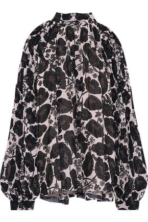 GIAMBATTISTA VALLI Pleated floral-print silk-chiffon blouse