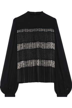 GIAMBATTISTA VALLI Pleated point d'esprit and polka-dot silk-chiffon blouse