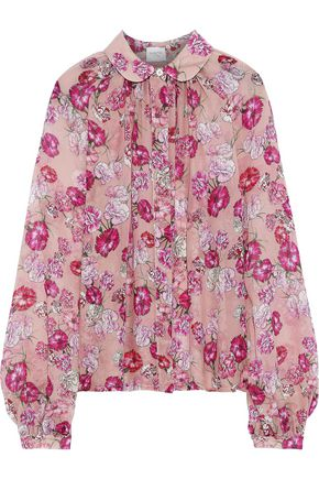 GIAMBATTISTA VALLI Shirred floral-print silk-chiffon blouse