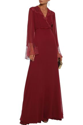 GIAMBATTISTA VALLI Wrap-effect Chantilly lace-paneled silk-chiffon gown