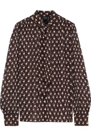 GIAMBATTISTA VALLI Tie-neck printed silk-chiffon blouse