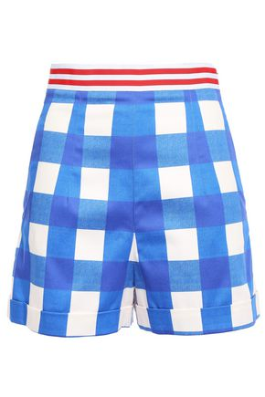 STELLA JEAN Grosgrain-trimmed checked cotton-blend cotton shorts