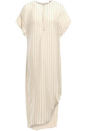 ESTEBAN CORTAZAR Asymmetric striped jacquard midi dress