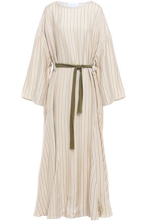 ESTEBAN CORTAZAR Belted striped jacquard midi dress