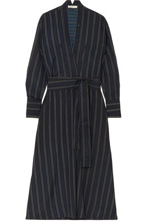 VINCE. Belted striped crepe de chine midi dress