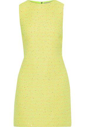 """ALICE + OLIVIA فستان قصير """"كلايد"""" من التويد المجعد بطريقة بوكليه لون نيون مزين بالترتر"""