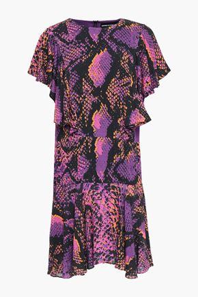 HOUSE OF HOLLAND Ruffled snake-print gauze mini dress