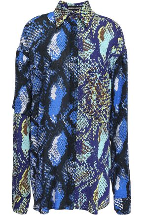 HOUSE OF HOLLAND Paneled snake-print gauze shirt